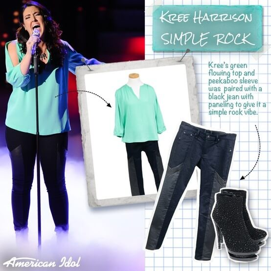 American Idol Season 12 performer Kree Harrison wears Fascinate 1011 ankle boots from Gothicplus.com