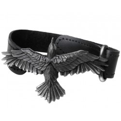 Black Consort Raven Leather Strap Bracelet LABEShops Home Decor, Fashion and Jewelry