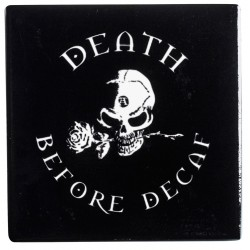 Death Before Decaf Gothic Ceramic Coaster LABEShops Home Decor, Fashion and Jewelry