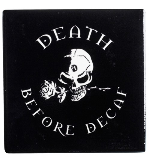 Death Before Decaf Gothic Ceramic Coaster