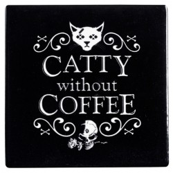 Catty Without Coffee Ceramic Coaster LABEShops Home Decor, Fashion and Jewelry