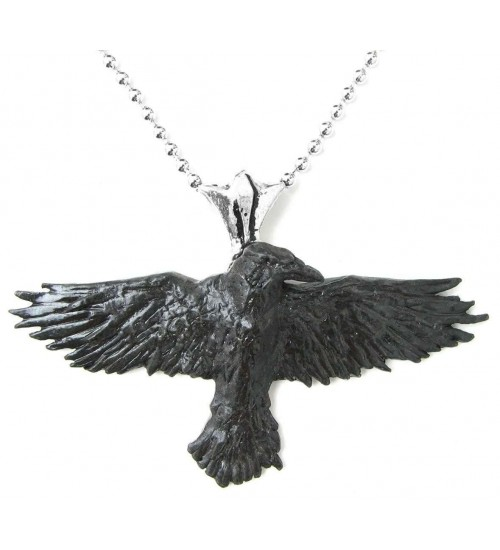 Black Raven Pewter Necklace at LABEShops, Home Decor, Fashion and Jewelry