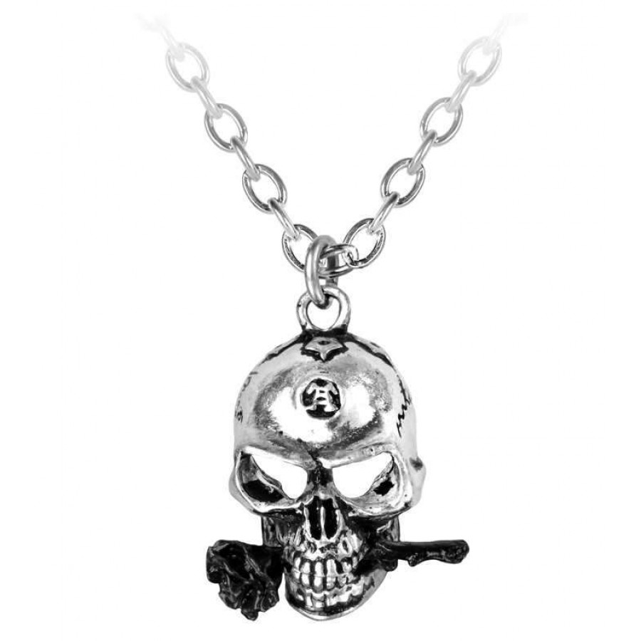 alchemist skull pewter dreadpunk necklace gothic jewlery