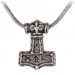 Bindrune Thors Hammer Pewter Necklace
