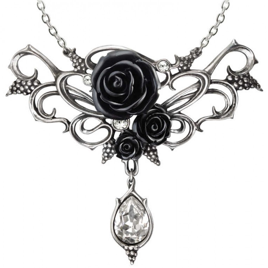Elegant black rose victorian necklace with crystal drop fine bacchanal black rose victorian necklace at labeshops home decor fashion and jewelry aloadofball Gallery