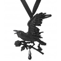 Harbinger Black Raven and Rose Gothic Necklace