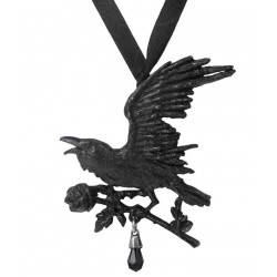 Harbinger Black Raven and Rose Gothic Necklace LABEShops Home Decor, Fashion and Jewelry