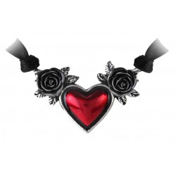 Blood Heart Black Rose Heart Pewter Necklace LABEShops Home Decor, Fashion and Jewelry