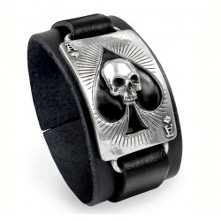 Ace of Dead Spades Leather Strap Bracelet LABEShops Home Decor, Fashion and Jewelry