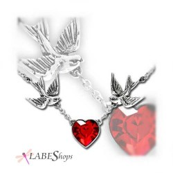 Swallow Heart Pewter Necklace LABEShops Home Decor, Fashion and Jewelry