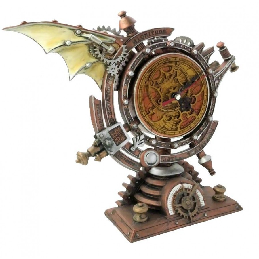 Stormgrave Winged Steampunk Pedestal Mantle Clock Clocks