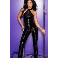 Black Vinyl Halter Neck Catsuit