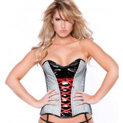 Clarissa Black and Gray Vinyl Corset LABEShops Home Decor, Fashion and Jewelry