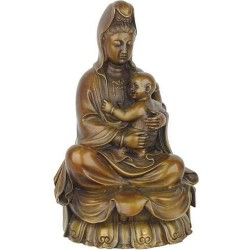Kuan-Yin with Baby Large Bronze Statue LABEShops Home Decor, Fashion and Jewelry