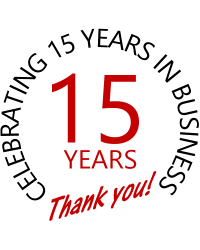 We are Celebrating 15 Years in Business!