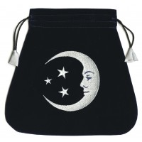 Smiling Moon Embroidered Tarot Bag