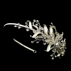 Silver Floral Vine Side Accented Bridal Headpiece LABEShops Home Decor, Fashion and Jewelry