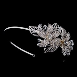 Flower Accented Silver Headband LABEShops Home Decor, Fashion and Jewelry