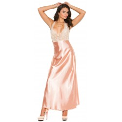 Peaches and Cream Charmeuse Satin Halter Gown LABEShops Home Decor, Fashion and Jewelry