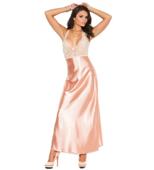 Peaches and Cream Charmeuse Satin Halter Gown at LABEShops, Home Decor, Fashion and Jewelry