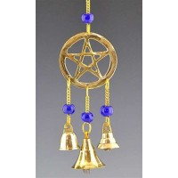 Pentacle Brass Chime with Beads