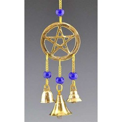 Pentacle Brass Chime with Beads LABEShops Home Decor, Fashion and Jewelry