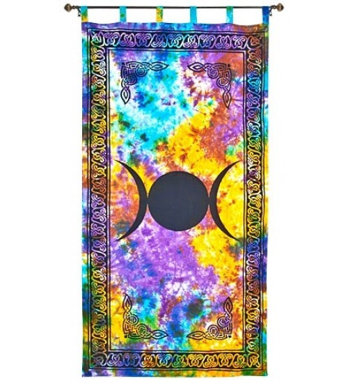 Triple Moon Tie Die Curtain at LABEShops, Home Decor, Fashion and Jewelry