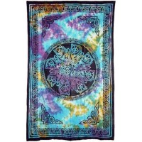 Celtic Knot Multi-Color Tie Dye Cotton Full Size Tapestry