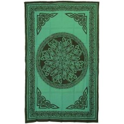 Celtic Knot Green Cotton Full Size Tapestry LABEShops Home Decor, Fashion and Jewelry