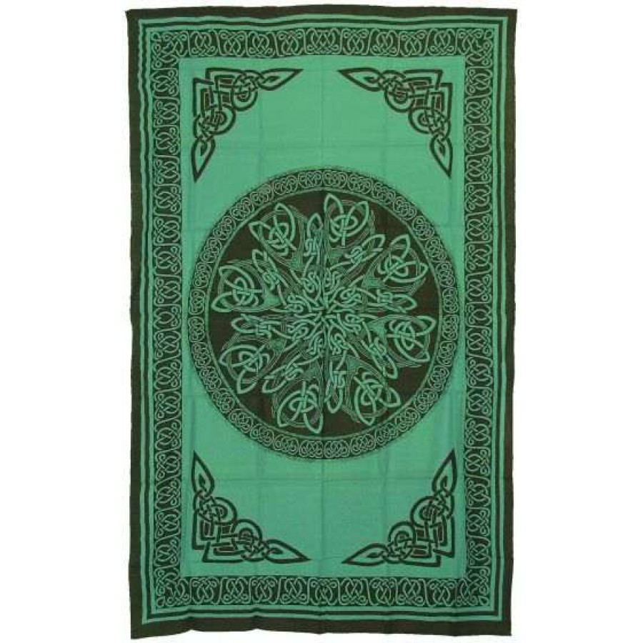 Celtic Knot Green Cotton Full Size Tapestry At Labeshops Home Decor Fashion And Jewelry