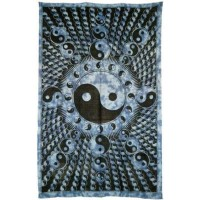 Yin Yang Blue Cotton Full Size Tapestry