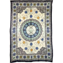 Floral Triple Moon Cotton Full Size Tapestry LABEShops Home Decor, Fashion and Jewelry
