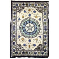 Floral Pentacle Cotton Full Size Tapestry LABEShops Home Decor, Fashion and Jewelry