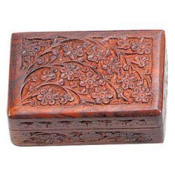 Floral Carved Wooden 6 Inch Box LABEShops Home Decor, Fashion and Jewelry