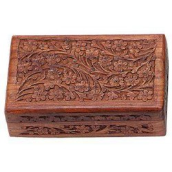 Floral Carved Wooden 8 Inch Box LABEShops Home Decor, Fashion and Jewelry
