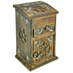 Pentacle Carved Wooden Herb Chest LABEShops Home Decor, Fashion and Jewelry