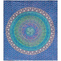 Floral Ring Blue Double Tapestry