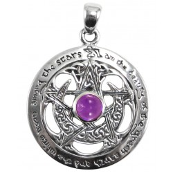 Moon Pentacle Sterling Silver Pendant with Amethyst LABEShops Home Decor, Fashion and Jewelry