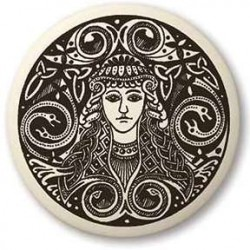 Brigantia Celtic Goddess Porcelain Round Necklace LABEShops Home Decor, Fashion and Jewelry