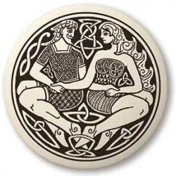 Divine Couple Celtic Round Porcelain Necklace LABEShops Home Decor, Fashion and Jewelry