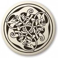 Cat Celtic Round Porcelain Necklace