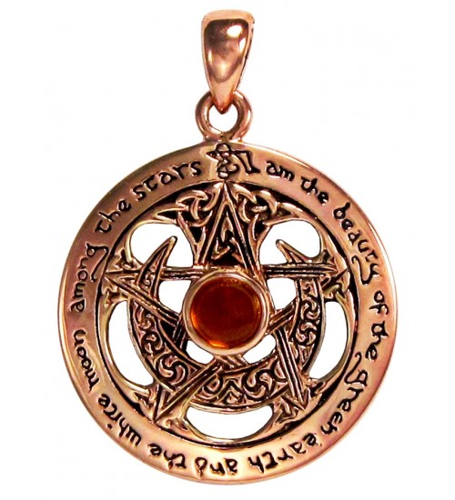 Moon Pentacle Copper Pendant with Amber at LABEShops, Home Decor, Fashion and Jewelry