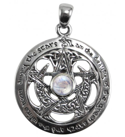 Moon Pentacle Sterling Silver Pendant with Moonstone at LABEShops, Home Decor, Fashion and Jewelry