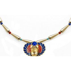 Winged Scarab Lapis and Gold Egyptian Necklace LABEShops Home Decor, Fashion and Jewelry