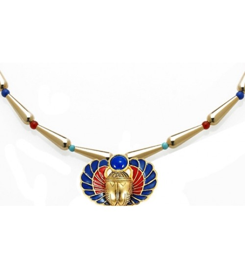 Winged Scarab Lapis and Gold Egyptian Necklace