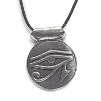 Eye of Horus Disk Pewter Necklace