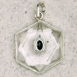 Clear Quartz 6 Point Prisma Star with Gemstone Pendant LABEShops Home Decor, Fashion and Jewelry