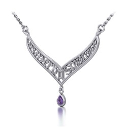12 Zodiac Symbols Silver Necklace with Teardrop Amethyst Birthstone