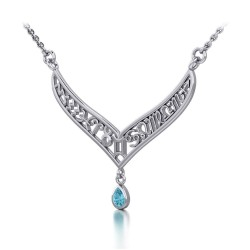 12 Zodiac Symbols Silver Necklace with Teardrop Blue Topaz Birthstone