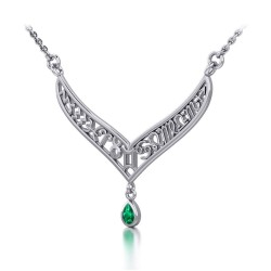 12 Zodiac Symbols Silver Necklace with Teardrop Emerald Birthstone